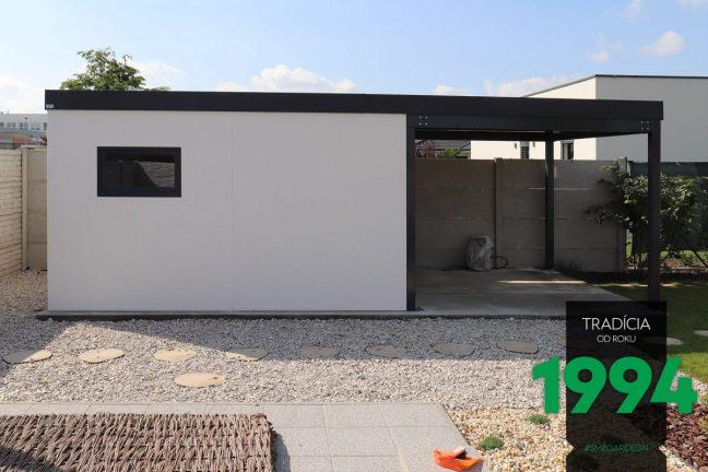 Weißes Gartenhaus von GARDEON mit einer Überdachung in anthrazit