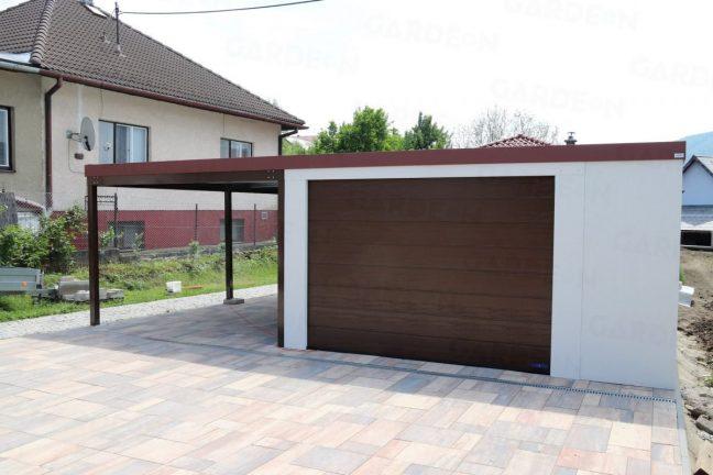 Weiße GARDEON Garage mit Carport links