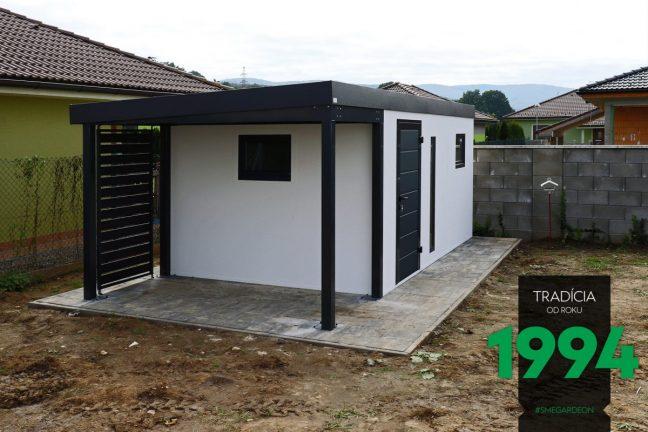 Modernes GARDEON Gartenhäuschen mit Überdachung und Wandelementen