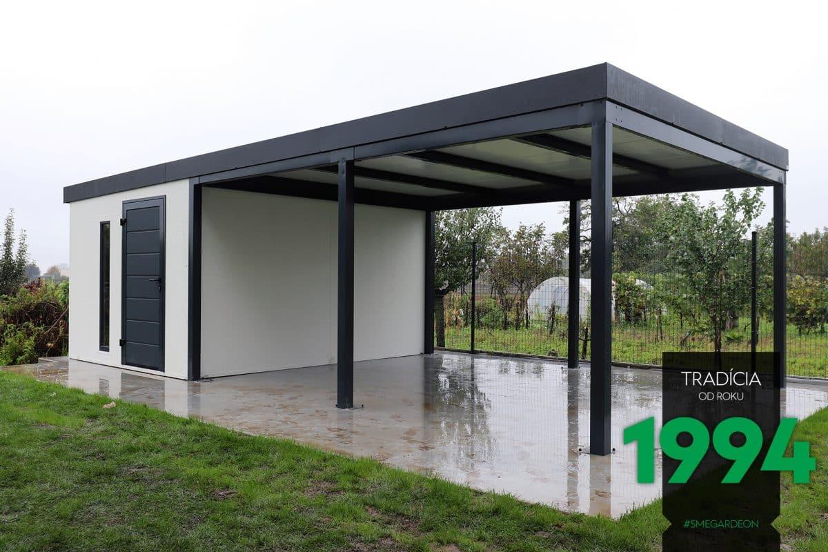 Schlichtes und modernes Gartenhaus mit Überdachung von GARDEON