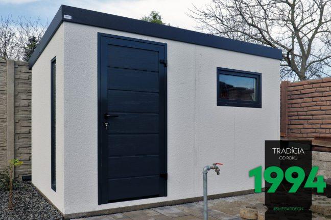 Die moderne weiße Gartenhütte von GARDEON mit Zubehör in anthrazit