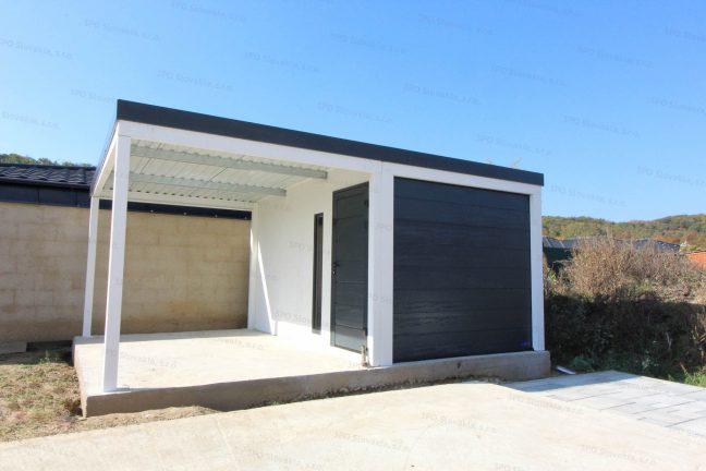 Eine Einzelgarage mit Überdachung in weiß und mit Pultdach