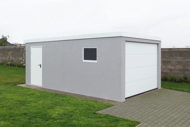 Eine licht-graue Garage für 1 PKW mit weißem Tor in L-Sicke