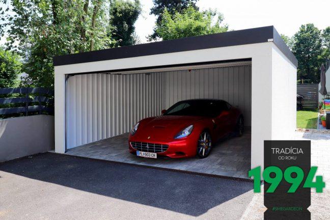Ein Ferrari geparkt in einer weißen Doppelgarage von GARDEON