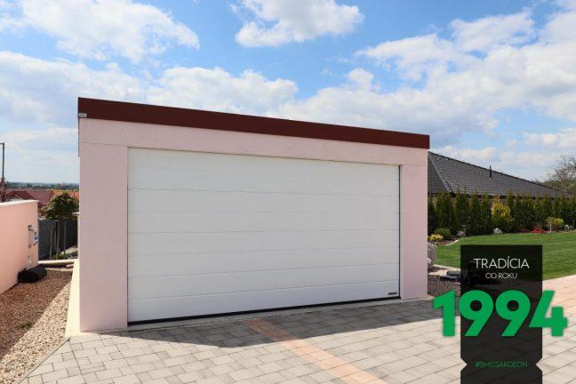 GARDEON Garage für 2 Autos mit einem weißen Sektionaltor