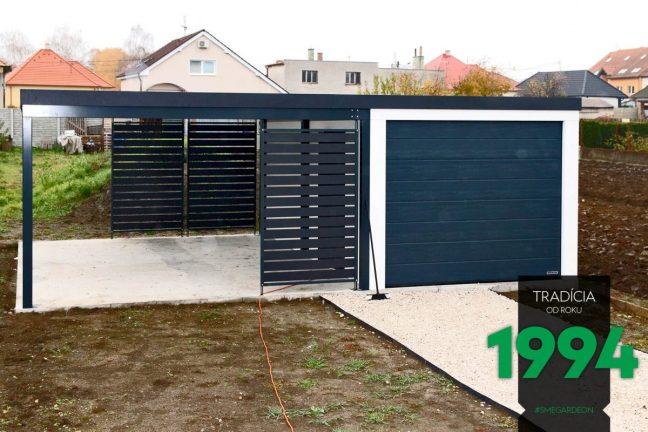 GARDEON: Simple Einzelgarage mit einer schmalen Überdachung inkl. Wandelemente