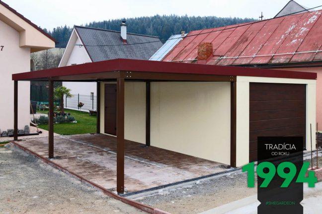 Einzelgarage von GARDEON mit einem Einzelcarport - montiert auf einer Pflasterung