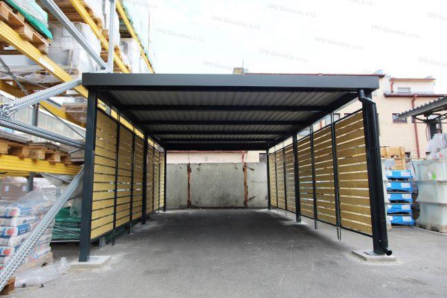 Ein Design-Carport von Gardeon mit Seitenwänden aus einer Holzlattung