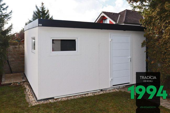 Modernes, weißes Gartenhaus von GARDEON mit der Attika in Farbe anthrazit