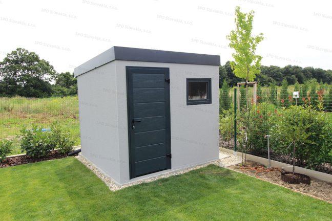 Ein modernes Gartenhaus in licht-grauem Putz mit Pultdach