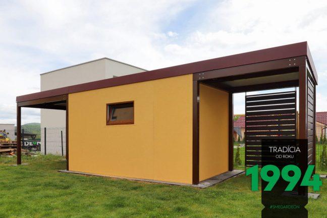 Gelbes GARDEON Gartenhaus mit 2 Überdachungen an den Seiten