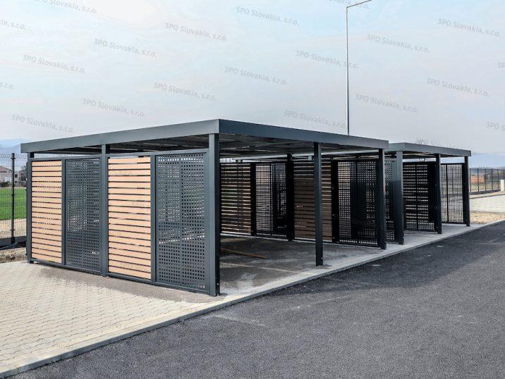 Carport von SIEBAU mit perforierten Wandausfüllungen an den Seitenwänden