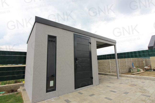 Ein Design-Gartenhaus mit einer Überdachung für Holzlagerung rechts