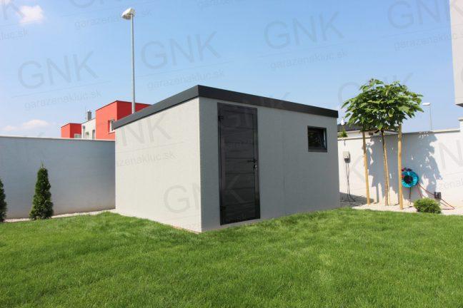 Ein modernes Gartenhaus mit der Hörmann LPU40 Tür