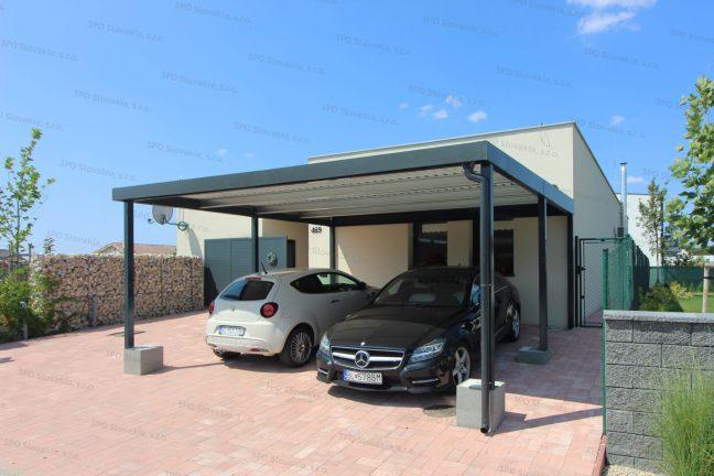 Ein wartungsfreies Carport für 2 Autos in anthrazit