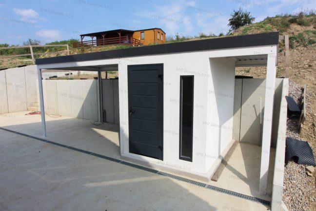 Ein Gartenhäuschen mit 2 Überdachung für eine Holzlagerung