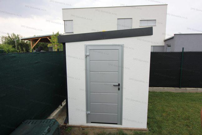Ein montiertes Häuschen in weiß mit der Tür LPU40 von Hörmann in der Farbe weißes Aluminium