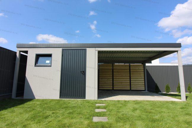 Ein Gartenhäuschen mit 2 Überdachungen - links und rechts