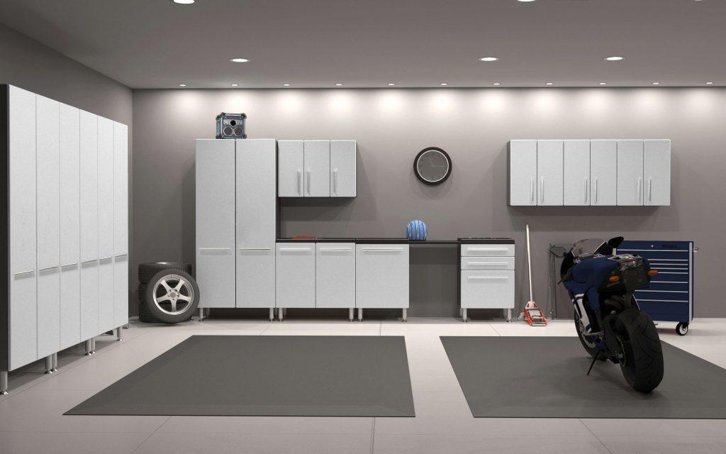 Weißes Möbel für die Garage