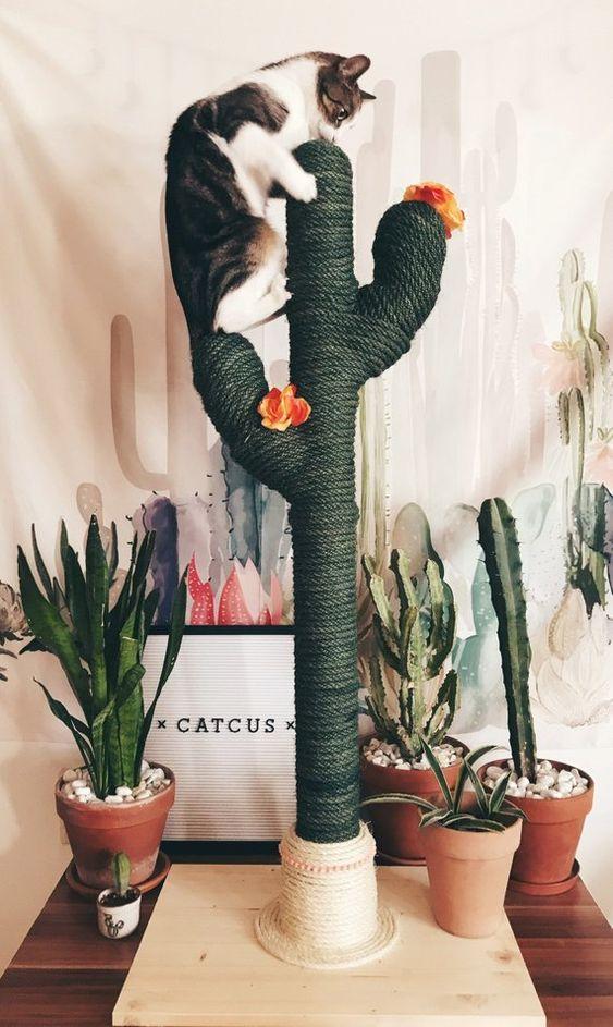 Ein Katzenbaum in Form eines Kaktusses