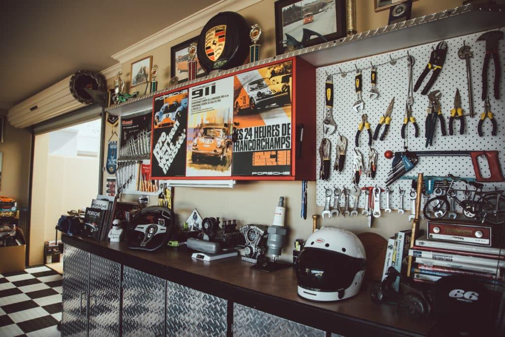Eine Motorrad-Werkstatt