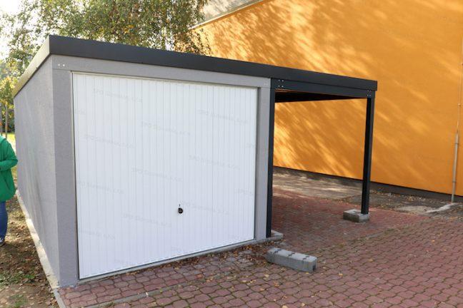Eine Einzelgarage von GARDEON in grau inkl. Carport