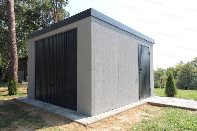Eine montierte Garage von GARDEON in licht-grau
