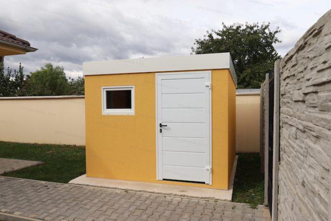 Ein modernes Gartenhaus von GARDEON in gelb mit weißem Zubehör