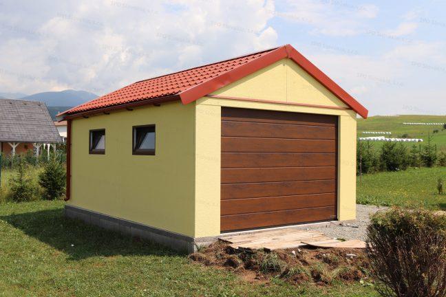 Eine gelbe Einzelgarage von GARDEON mit dem Satteldach in rot