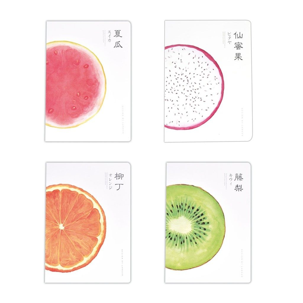 Ein Notizbuch bedruckt mit Obst - Melone, Orange, Kiwi