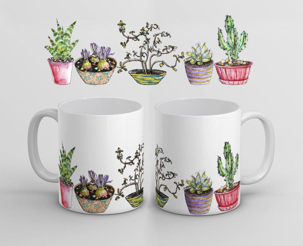 Eine Tasse mit Pflanzen - Bedruck