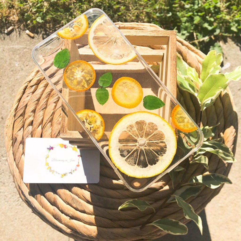 iPhone Hanhyhülle mit Zitronen und Minze