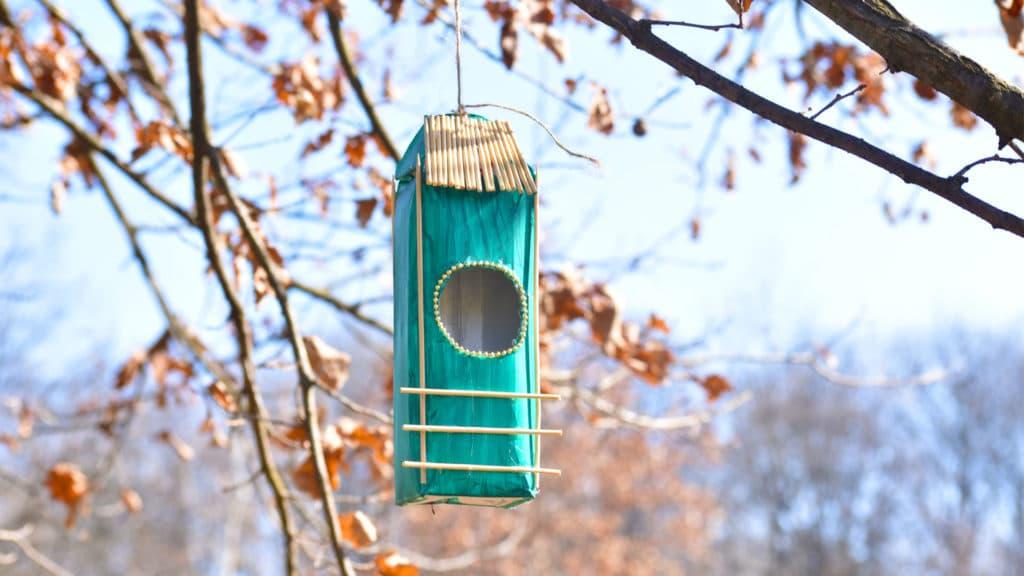 Ein Vogelhäuschen am Baum