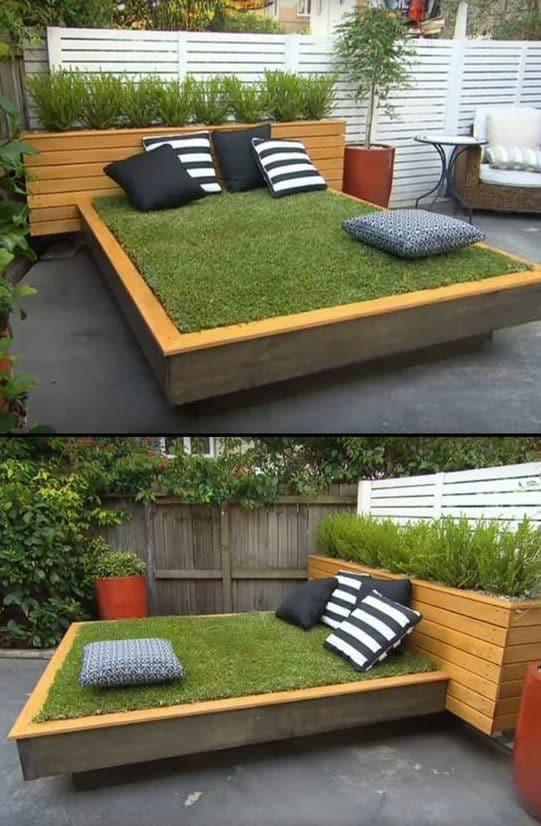 Bett aus Grass