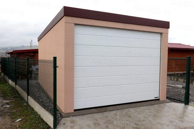 1-Auto-Garage mit braunem Dach
