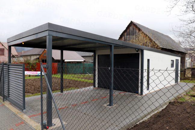 Eine 1-Auto-Garage mit einem Carport in anthrazit