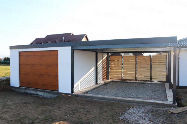 Eine Garage von GARDEON mit einer Überdachung an ihrer rechten Seite
