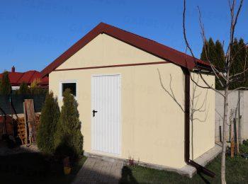 Das montierte Gartenhaus von GARDEON mit Satteldach
