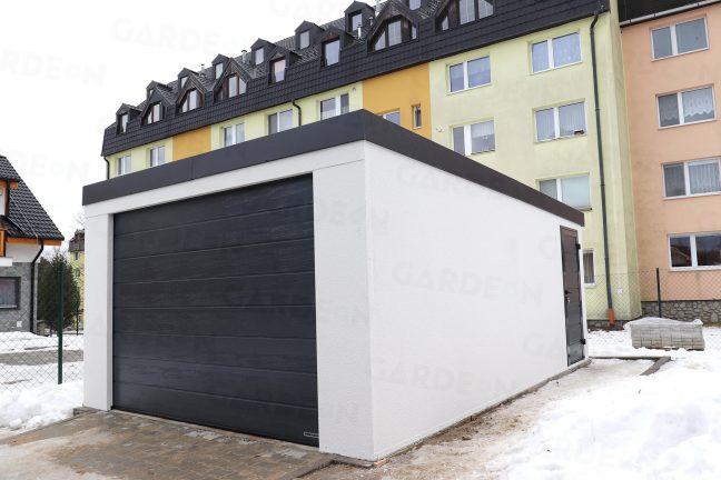 Montierte 1-Auto-Garage von einem Wohnhaus