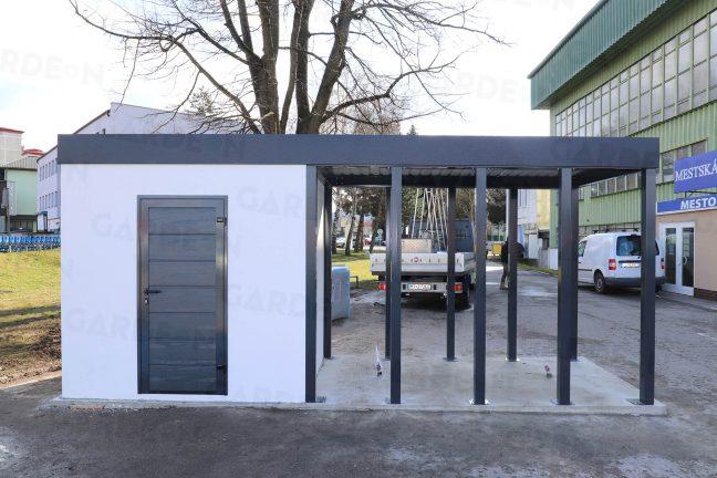 Ein atypisches Gartenhaus mit Flachdach beim Stadion