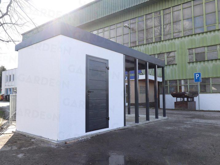 Ein atypisches Gartenhaus mit Flachdach