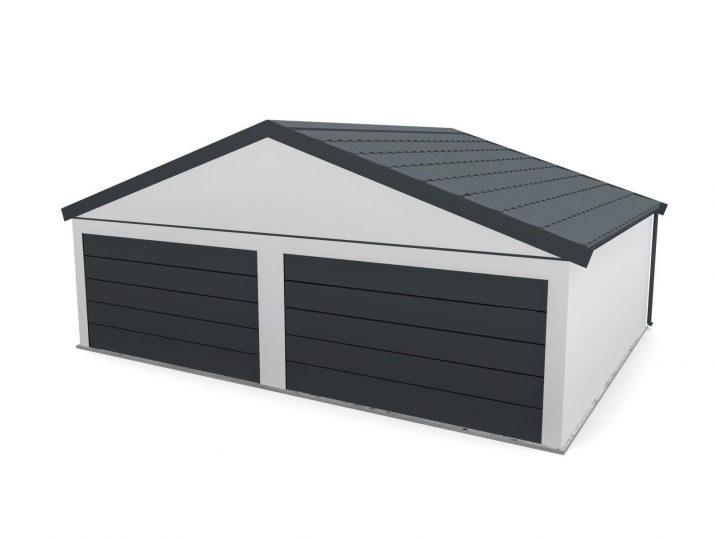 Eine Garage mit Satteldach und 2 Toren