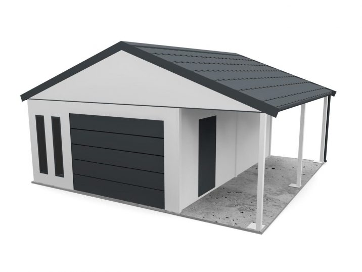 Eine Garage mit Satteldach und Überdachung