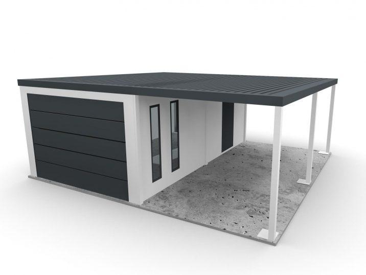 Eine Garage mit einem 1-Auto-Carport
