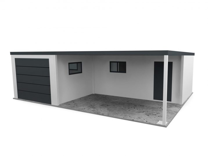 Eine L-förmige Garage mit Überdachung