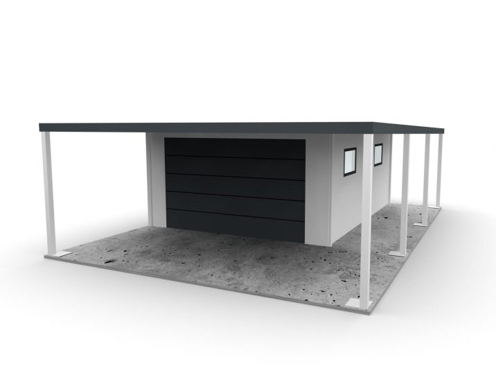 Eine Garage für 1 Auto mit Überdachungen