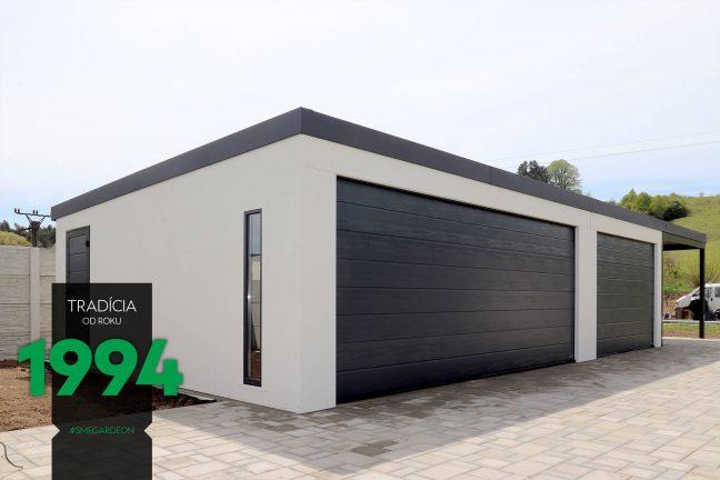 Maßanfertigung - weiße Garage für mehrere Autos mit Zubehör in RAL 7016 - anthrazit