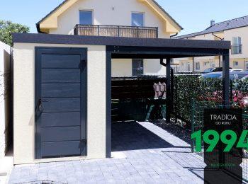Das Gartenhaus von GARDEON mit der LPU40 Tür von Hörmann in RAL 7016