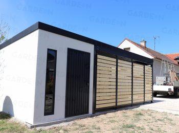 Kleines Gartenhaus von GARDEON mit Überdachung inkl. Wandelemente aus Holz
