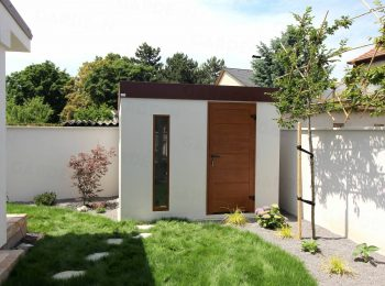 Licht-graues Gartenhaus mit Zubehör in der Farbe goldene-Eiche